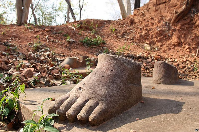 Feet of a looted statue, Koh Ker Cambodia