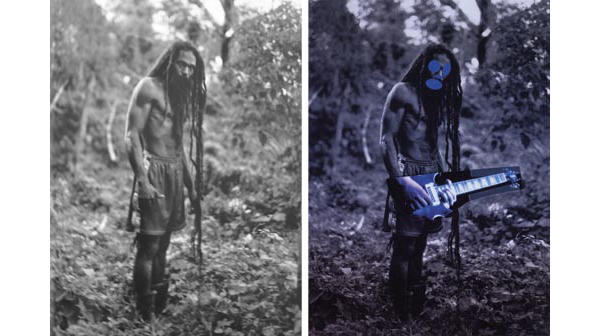 At left, one of Patrick Cariou's photographs of Rastafarian's, and at right, a painting from Prince's 'Canal Zone' series