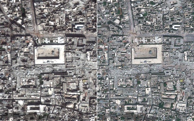 Satellite images of Aleppo from March 2013 on the left, compared with May 26, 2013