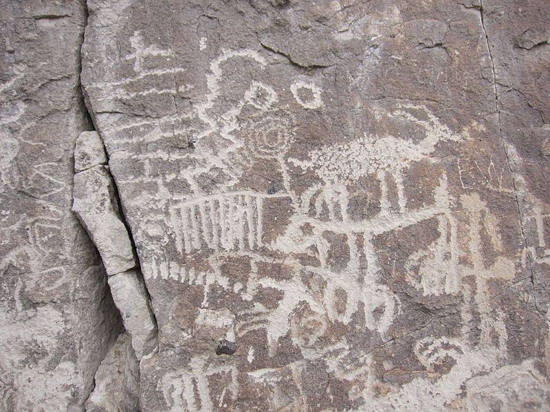 Detail of a petroglyph in the White River Narrows in Nevada
