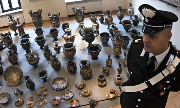 archeological treasures at the Terme di Diocleziano museum in Rome, Italy.  Photograph: Claudio Peri/EPA