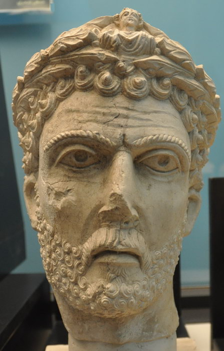 A bust from the Palmyra Museum, likely representing Odenaethus are ruler of Palmyra in the second half of the 3rd century who fought a successful campaign against Persia.