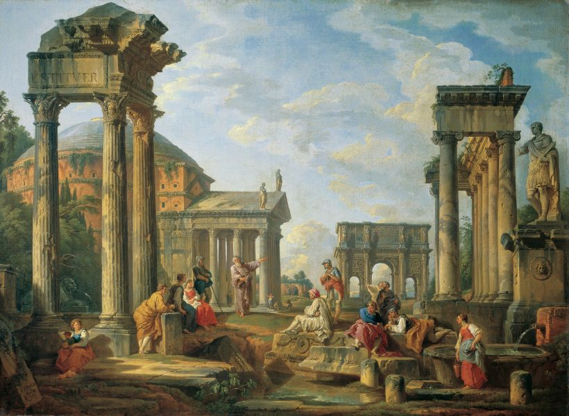 Roman ruins with a prophet, by Giovanni Pannini, 1751.