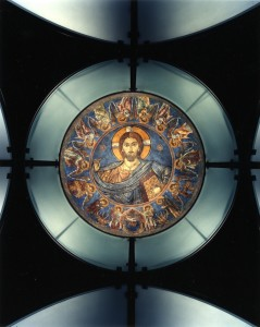 Interior view of the Byzantine Fresco Chapel showing dome fresco depicting Christ Pantokrator. Courtesy the Menil Collection, Houston. Photo: Paul Warchol