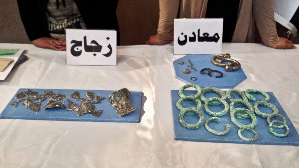 Image of some of the objects seized in the May raid, returned to the Baghdad national museum in July, Vivian Salama/AP